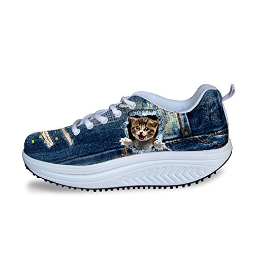 HUGS IDEA Cute Womens Platform Fitness Blue Sneakers Animal 5 cWCUXFv