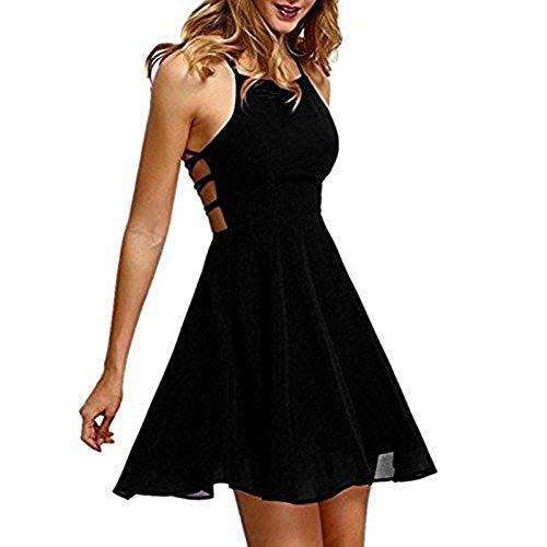 b5cc2c6ff0 Vestido Las Sin Redondo Vendaje Mini Taigood Sexy Mujeres Negro De Verano  Correa Cuello Espalda Del ...