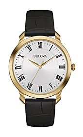 Bulova Men's 97A123 Stainless Steel Dress Watch With Black Leather Band