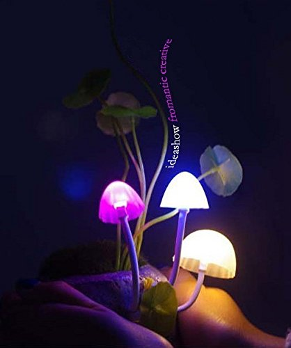 Weihengromantic Magic Creative Mushroom LED Ceramic Light Sensor Lamp for Avatar (Gray Stone)