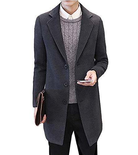 Poperdision メンズ チェスター コート 冬 メルトン ロングコート 無地 シンプル シングルコート 防寒 ロングアウター 男性用 ビジネス 通勤 大きいサイズ