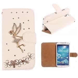 Rhinestone Handmade Bling Angel and Flower Design Leather Case for Samsung Galaxy S4 mini I9190
