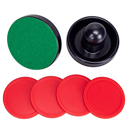 jollylife Black Air Hockey Pushers Set of 2 and 4 Red Pucks (Air Hockey Table Glow In The Dark)
