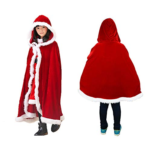 Christmas Cloak Red Velvet Mrs Santa Hooded Cape Xmas Santa Claus Robe Party Costume Cappa Cloak Cape for Adult Child (Color -