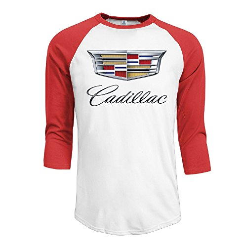 IYaYa Cadillac Logo Men's 3/4 Sleeve Raglan Baseball Shirt Red ()