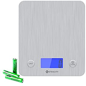 Etekcity Digital Kitchen Scale Multifunction Food Scale with 30% Wider Platform 11lb 5kg, 3 GP Batteries Included (Stainless Steel)