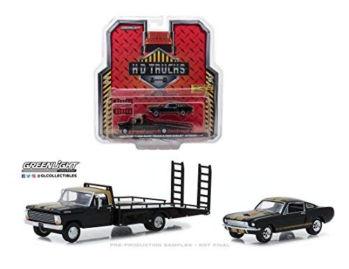 Greenlight HD TRucks 1968 FORD F-350 RAMP TRUCK WITH 1966 SHELBY MUSTANG Black 33130-A 1/64 Scale 64 Scale Diecast Truck Car