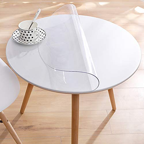 "Clear Multifunctional Desk Pad Table Mat 30"" Round Table Cover, Water Resistant Non-Slip Vinyl Table Protector Circle Table Pad for Coffee, Glass, Dining Room Table"