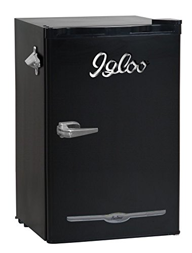 Igloo FR376-BLACK 3.2 cu. ft. Retro Bar Fridge with Side Bottle Opener, Black by Igloo