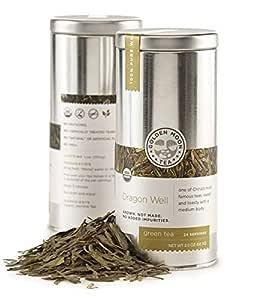 Golden Moon Tea - Dragon Well Tea - Organic - Loose Leaf - Non GMO - 2oz Tin - 24 Servings
