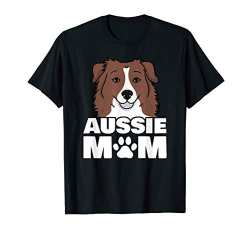 Mom Loves Her Australian Shepherd Aussie Dog Paw T-Shirt