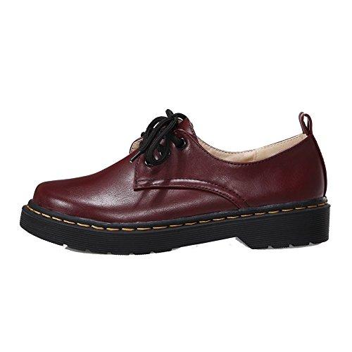 Allhqfashion Kvinners Round-toe Blonder-up Pu Solide Lave Hæler Pumper-sko  Claret ...
