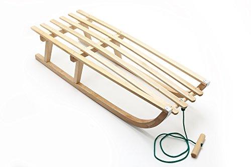 Schlitten Holz 88 cm mit Leine Holzschlitten Rodel Kinderschlitten
