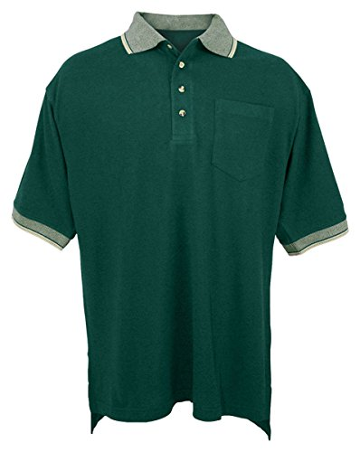 Tri Mountain Mens Cotton Pique Pocketed Golf Shirt With Jacquard Trim  197   Forest Green   Khaki 6Xlt