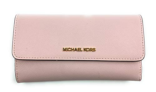 Michael Kors Women's Jet Set Travel Large Trifold Wallet (Powder Blush)
