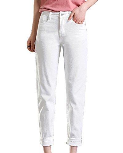 Mujer Pantalones Slim Fit Pantalón Ajustados Casual Longitud Del Tobillo Blanco