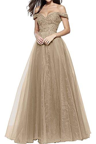 Abschlussballkleider Damen Schulterfrei Bodenlang La mia Braut Ballkleider Abendkleider Champagner Spitze Pailletten 8E8tqRAxn