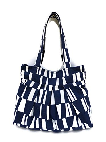 Navy and white shoulder bag, Women Tote, Fabric Tote, Pleated Bag, Women Handbag, Navy Tote, 13'' Wide x 11'' Height x 5'' Deep, Tote with Pockets, Tote ()