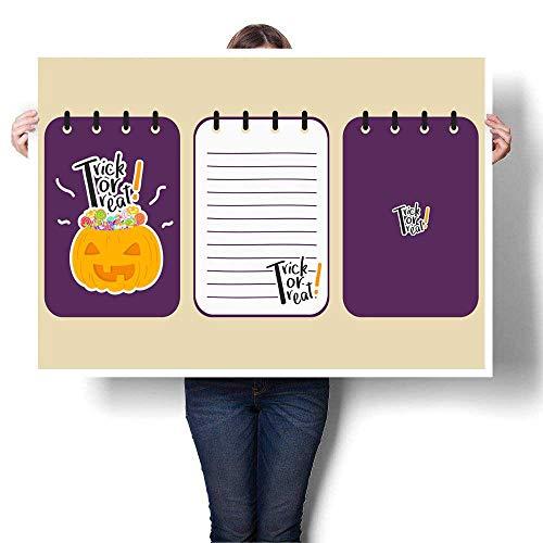 Canvas Print Wall Art Printable Halloween Purple Notebook Vector Design Decorative Fine Art Canvas Print Poster K 28