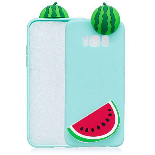 For Samsung Galaxy S8 Soft TPU 3D Cute Cartoon Slime Toy Doll Squishy Phone Case Cover Protective Shell (Banana) light blue Watermelon