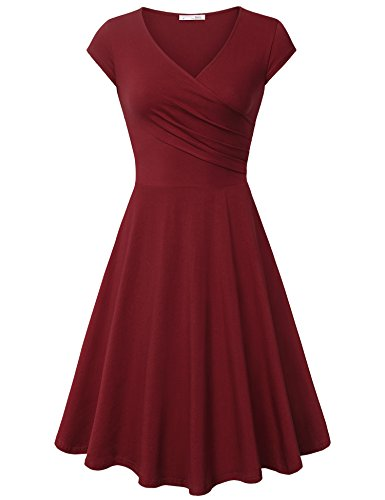 Messic Direct Tea Dresses for Womens Elegant Flared Midi Dress Cap Sleeve A Line Sundresses Casual Oversize Women's Afternoon Dress Wine XX-Large -