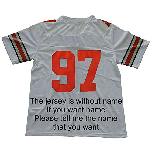 yicana White Ohio State Jersey Stitched #97 Without Name (Small)