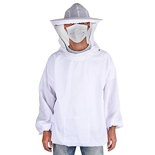 Beekeeper Mask Costume (Yescom XL Beekeeping Jacket with Veil Hood Zipper Pull Over Suit Smock Clothing Protective Equipment for Beekeeper)