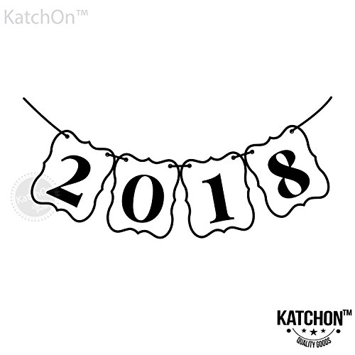 KATCHON 2018 Banner, Black and White - Beautiful Banner Decor for Graduations Party Supplies 2018 Graduations Photos, Events, Proms | Alternative to 2018 Balloons | Large 8 Inch