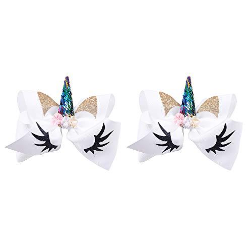 6716d9b4ee0c Galleon - 2 Pcs Hair Bows For Girls Cheer Bows Glitter Baby Hair Clips  Holder Organizer