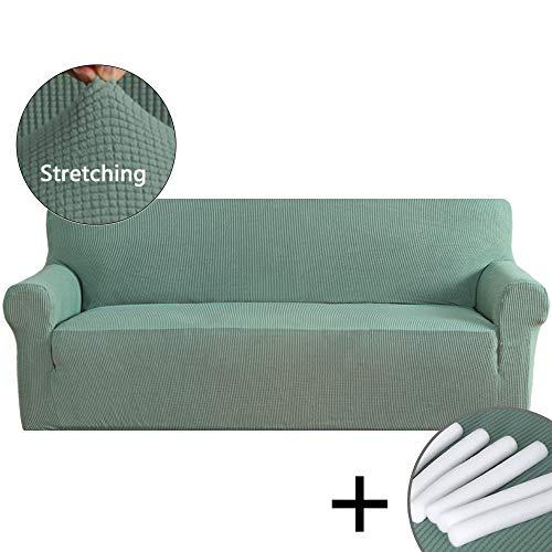 Piece Leaf Sofa 3 (PrimeBeau 1-Piece Sofa Fitting Stretchy Jacquard Diamond Couch Cover Elastic Bottom Green)