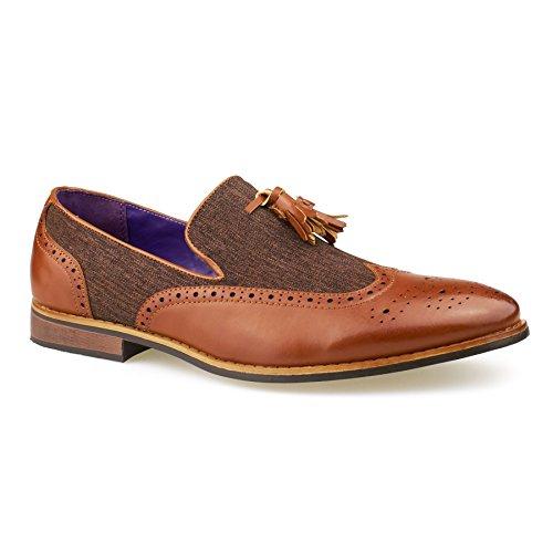 New Mens Leather Slip On Tassel Loafers Smart Brogue Casual Formal Fashion Shoes 6-11 Brown y2TsQTQDae