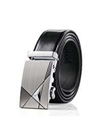 Teemzone Men's Business Casual Style Leather Ratchet Belt Slide Belt for Waist (Black)