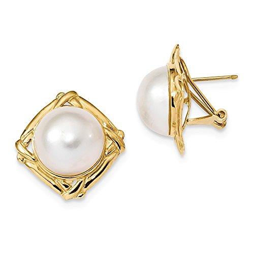 14k Yellow Gold 13-14mm White Mabe Freshwater Cultured Pearl Omega Back Earrings ()