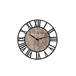 Upuptop Farm House Wall Clock with Champagne Design Theme and Black Iron Frame Chic Style Vintage Wood and Metal Wall Clock Home Decoration Round 16 Inch House Decor Clock