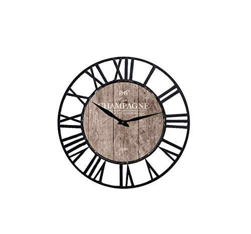 Karen R. Ortega Farm House Wall Clock with Champagne Design Theme and Black Iron Frame 16 inch - This farm house style with various vintage designs paper decal wall clock, made of iron and MDF; Size measure: 20mm thickness; Design without second hand for more quiet life enjoy; - wall-clocks, living-room-decor, living-room - 4133ptaC2jL -