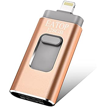 USB Flash Drives 128GB iPhone Memory Stick,EATOP External Storage Memory Stick Adapter Expansion for iPod/iPhone/iPad/Android & Computers (Gold)
