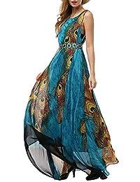 Wantdo Women's Summer Beach Dress Bohemian Peacock Printed Maxi Dress