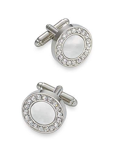 Round Cufflinks Crystal (Paul Fredrick Men's Mother of Pearl \ Crystal Round Cufflinks Silver 000)