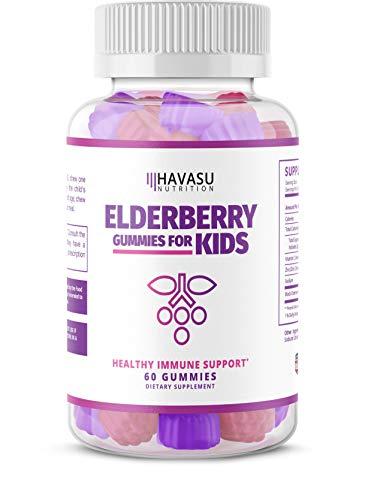 Havasu Nutrition Elderberry Gummies for Kids 50mg - Immune System Support - Premium Natural Ingredients - NO Gelatin, NO Fructose Corn Syrup, Gluten Free - Natural Ingredients - 60 Gummys (Foods To Eat To Boost Your Immune System)