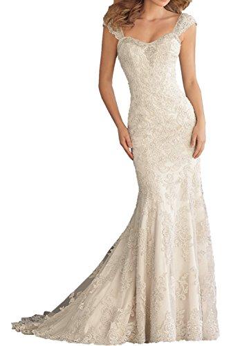 Milano Bride Elfenbein elegant Traeger Spitze Meerejungfrau Damen Hochzeitskleider Brautkleider Brautmode Hof-schleppe Neu