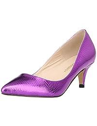 LOSLANDIFEN Women's Pointed Toe Low Mid Heels Crocodile Pumps Court Dress Shoes