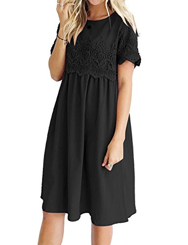 LookbookStore Women's Black Lace Crochet Short Sleeves Back Keyhole A Line Short Casual Babydoll Dress Size Large (US 12-14)