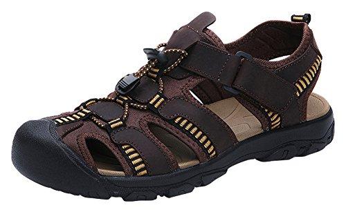 Agowoo Mannen Dichte Teen Sandalen Wandelen Strand Outdoor Sandles Dark_brown