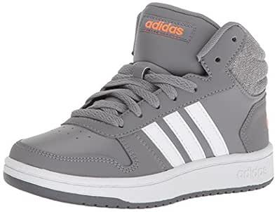 adidas Kids' Hoops Mid 2.0, Grey Three/White/Hi-Res Orange, 5.5 M US Little Kid