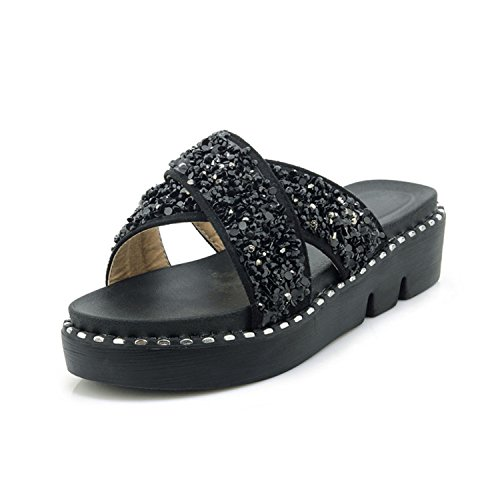 Shoes Flops Wedge Colorful Beaded Bohemia Open Toe Flip Woman High Black Heel vovmi wvzU5qX5
