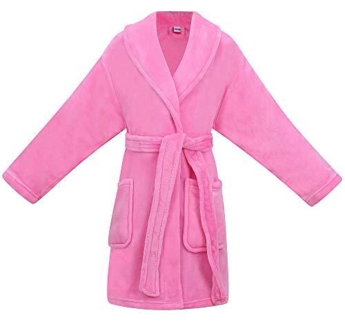 Simplicity Boy's Girl's Children Flannel Beachwear Cover up, Pink, M