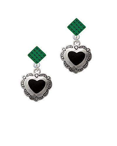 [Black Concho Heart - Green Lulu Diamond-Shaped Earrings] (Diamond Shaped Conchos)