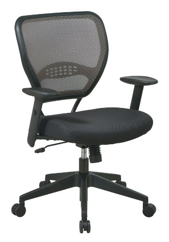 SPACE Seating AirGrid Latte Back and Padded Padded Mesh Seat, 2-to-1 Synchro Tilt Control, Adjustable Arms and Tilt Tension with Nylon Base Managers Chair