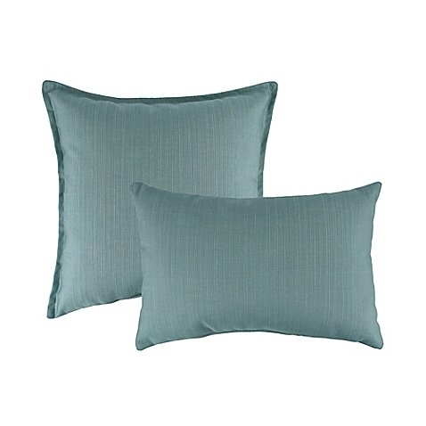 Austin Horn Classics Sunbrella South Hampton Square Throw Pillows | Set of 2 - Indoor/Outdoor design (AQUA)