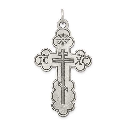 925 Sterling Silver Eastern Orthodox Cross Religious Pendant Charm Necklace Fine Jewelry Gifts For Women For Her ()